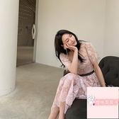 玫瑰蛋糕裙沙灘長裙連身裙女珠片繡花粉色【櫻桃菜菜子】