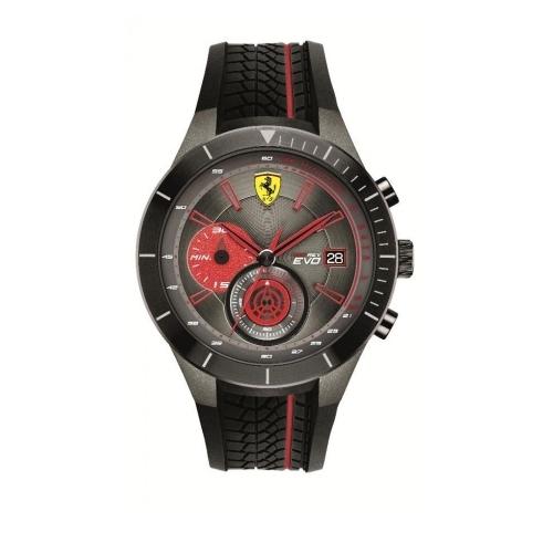 FERRARI 法拉利RedRev速度計時快感運動時尚腕錶/紅/0830341