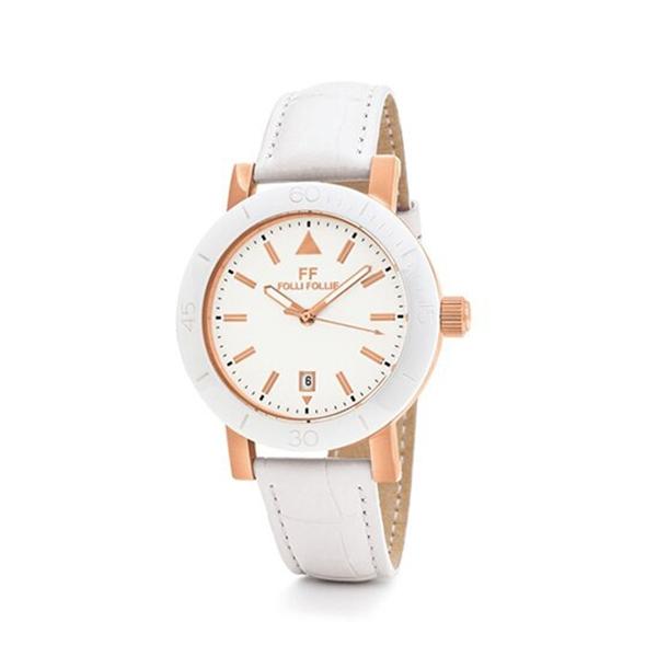 【Folli Follie】Time Framed淨白優雅時尚真皮腕錶-淨白款/WF18R030SDW_WH/台灣總代理享兩年保固