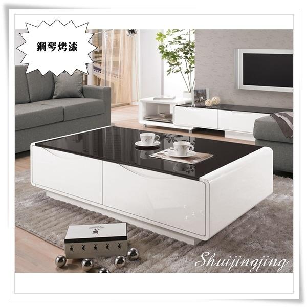 【水晶晶家具/傢俱首選】JM1762-2 達瑪拉130cm鋼琴烤漆黑玻大茶几