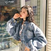 韓版chic復古蝙蝠袖短款牛仔外套女百搭寬鬆bf學生夾克       伊芙莎