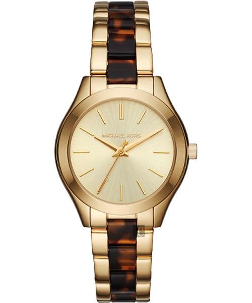 【時間道】【MICHAEL KORS】現代古典美學時尚錶/金面框+琥珀色帶 (MK3710)免運費