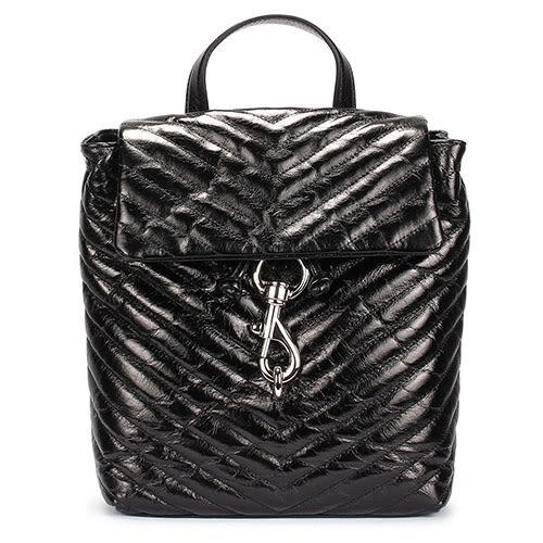 Rebecca Minkoff EDIE斜縫紋皮革抽繩束口手提後背包(黑色)220083