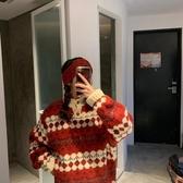 新年紅色套頭毛衣女情侶裝秋冬復古寬鬆慵懶風打底針織外穿  歐韓流行館