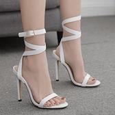 歐美性感皮帶扣大碼高跟鞋涼鞋女 夜店舞臺表演高跟鞋