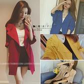 【QV0132】魔衣子-純色大翻領七分袖開衫風衣外套
