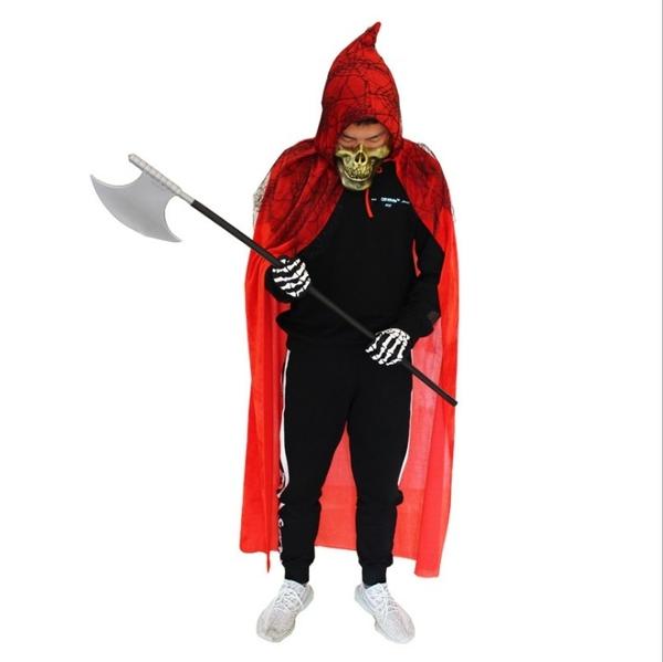 衣童趣(•‿•)兒童成人角色扮演服 萬聖節 死神造型 變裝派對 惡魔斗蓬【現貨】表演服+鐮刀套裝
