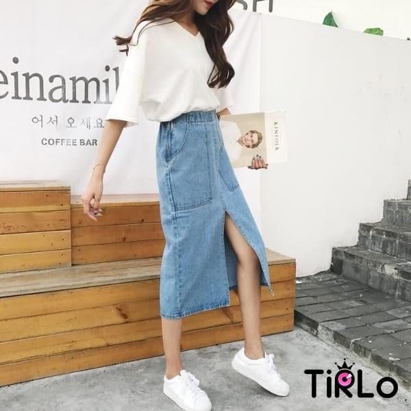 牛仔裙 -Tirlo-推薦! 前大口袋開衩牛仔鉛筆裙-一色/SML