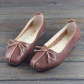 牛皮平底鞋  森系休閒鞋 方頭平底鞋 蝴蝶結淺口鞋-標準碼-夢想家-0327