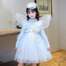 兒童禮服 女童公主裙兒童春洋氣蓬蓬紗蝴蝶翅膀加絨針織毛衣裙禮服【快速出貨八折鉅惠】