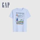 Gap男童 純棉互動趣味短袖T恤 682088-淺藍色