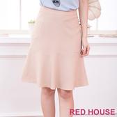 【RED HOUSE 蕾赫斯】波浪紋路及膝裙(淺卡其色)