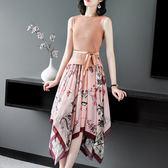 (現貨+預購 RN-girls)-精品無袖露背針織上衣+印花雪紡兩件式洋裝套裝