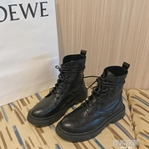 網紅厚底馬丁靴女2020夏新款英倫風ins潮瘦瘦靴復古黑色機車短靴 【韓語空間】