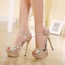 高跟涼鞋夏季新款性感水鑚涼鞋夜店細跟扣帶女鞋【全館免運】