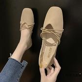 單鞋女夏鞋子方頭平底奶奶鞋淺口豆豆鞋女【時尚大衣櫥】