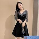 黑色尾牙禮服 長袖洋裝 高級質感小個子氣質主持短款中長款夜店風連身裙女 3C數位百貨