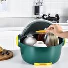 廚房家用碗筷瀝水收納盒放碗裝碗箱帶蓋小型多功能碗碟碗盤置物架【快速出貨】