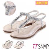 夾腳涼鞋-TTSNAP甜美水鑽花型平底涼鞋 金黃