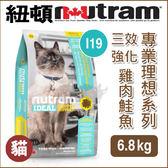 [寵樂子]《紐頓NUTRAM》專業理想系列 - I19 三效強化貓 雞肉鮭魚 6.8kg / 貓飼料