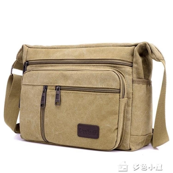 側包多層容量男士口袋掛包男生背包單肩斜挎包帆布布包包袋車縫線 多色小屋