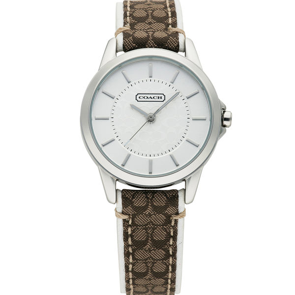 COACH 優雅簡約經典LOGO皮帶腕錶/31mm--咖啡*白 (14501526)