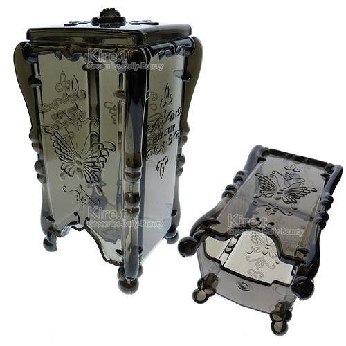Kiret 收納盒 化妝棉 透明鐵灰蝴蝶抽取化妝棉收納盒(四色)【A037-GR】