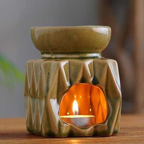 青司外貿尾單冰裂綠菱形|復古蠟燭陶瓷香薰爐精油燈香薰燈 美眉新品