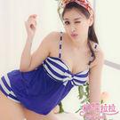 *╮粉紅拉拉【PGW12050】海軍甜美女孩→可愛條紋x性感網紗‧連身式平口褲泳裝‧藍