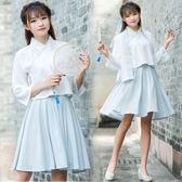 古裝改良漢服女夏日常小清新公主交領短裙兩件套漢元素團服套裝