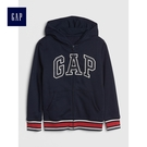 Gap男童 Logo印花落肩長袖連帽休閒外套 491327-海軍藍