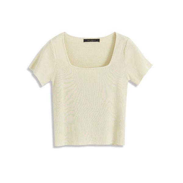 Queen Shop【01012320】方領針織素面上衣 四色售*現+預*
