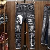 新品特惠# 跨境牛仔外貿秋冬印花黑色彈力男士牛仔褲時尚個性貼布男式牛仔褲