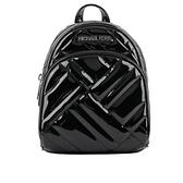 【MICHAEL KORS】Mini Abbey銀字漆皮縫線紋路後背包(黑色) 35T0SAYC8L BLK