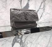 ■專櫃87折■ 全新真品■Saint Laurent 498894 中款 Niki 復古皺褶小牛皮兩用包 灰色