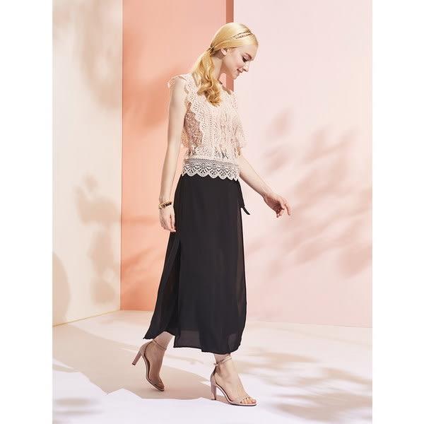 ★2019春夏★Keeley Ann簡約一字帶 編織半圓造型高跟涼鞋(粉紅色) -Ann系列