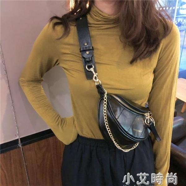 2020網紅新款褶皺腰包小香風菱格包圓環飾手提單肩包斜挎胸包包女 小艾時尚