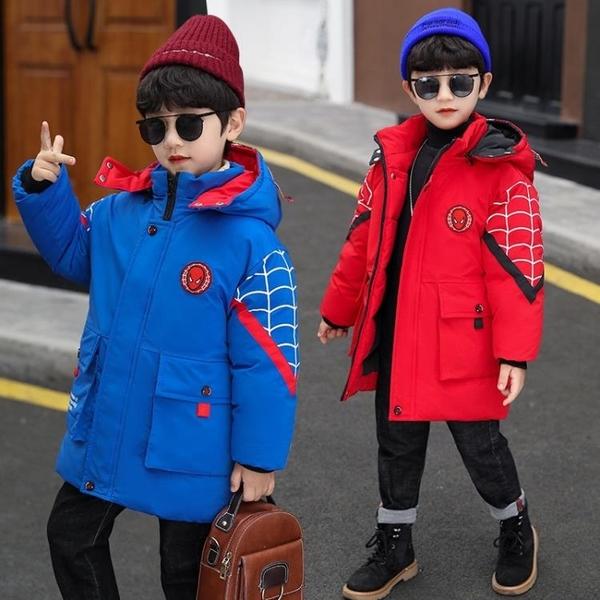 卡通兒童加絨加厚夾克外套 羽絨外套男孩7Plus 中長款秋冬男寶寶棉衣 中大童韓版外套