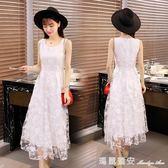 2018夏季裝新款韓版時尚女洋裝小清新蕾絲雪紡修身學生A字長裙 瑪麗蓮安