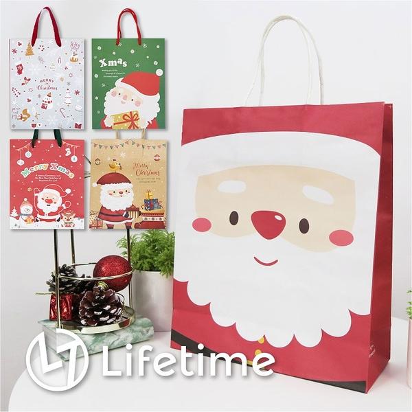 ﹝聖誕手提紙袋4K﹞正版 禮物包裝 提袋 聖誕老公公 雪人 聖誕禮物〖LifeTime一生流行館〗