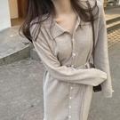 秋冬洋裝長袖寬鬆顯瘦內搭針織法式溫柔風過膝長款毛衣裙