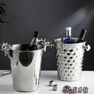 個性錘紋金色不銹鋼冰桶輕奢鹿角家紅酒香檳桶冰塊桶家居裝飾擺件 AW傑森型男館