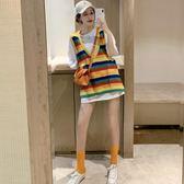 針織馬甲外穿2019韓版彩虹條紋背心bf寬鬆V領針織馬甲女學生 雲朵走走