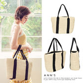 Ann'S野餐吧-黑色雙織帶竹編托特包-米白
