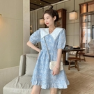 泡泡袖洋裝 泡泡袖碎花連身裙女裝夏季2021新款法式初戀桔梗設計感小個子裙子 小天使