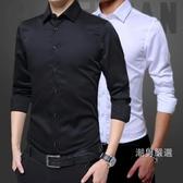 春秋黑色襯衫男士長袖正韓休閒修身衣服寸衫薄版素面男裝白襯衣潮