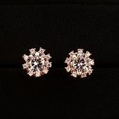 耳環 玫瑰金 925純銀鑲鑽-迷人可愛生日情人節禮物女飾品2色73gs160【時尚巴黎】