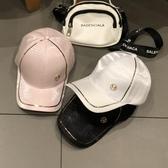 帽子女 韓版休閒百搭M標絲光棒球帽春夏遮陽帽時尚綢緞鴨舌帽