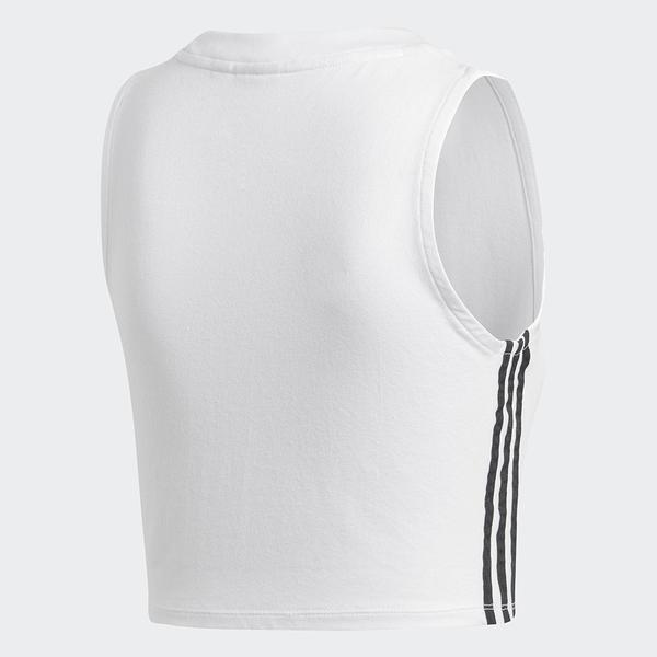 Adidas Crop Top 女裝 背心 短版 慢跑 訓練 三葉草 白【運動世界】DH3163