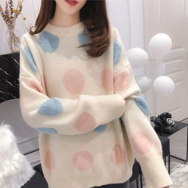 ☆現貨☆毛衣 慵懶寬鬆圓點針織毛衣(杏)小豬兒 Mini Jule  【STA82000995】。